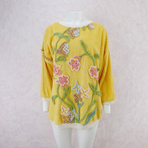 Vintage 60s Floral Printed Stretch Bouclé Top