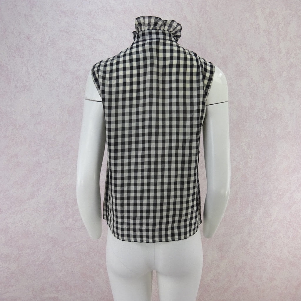 Vintage 70s Gingham Blouse w/Multi-Pleated Front f