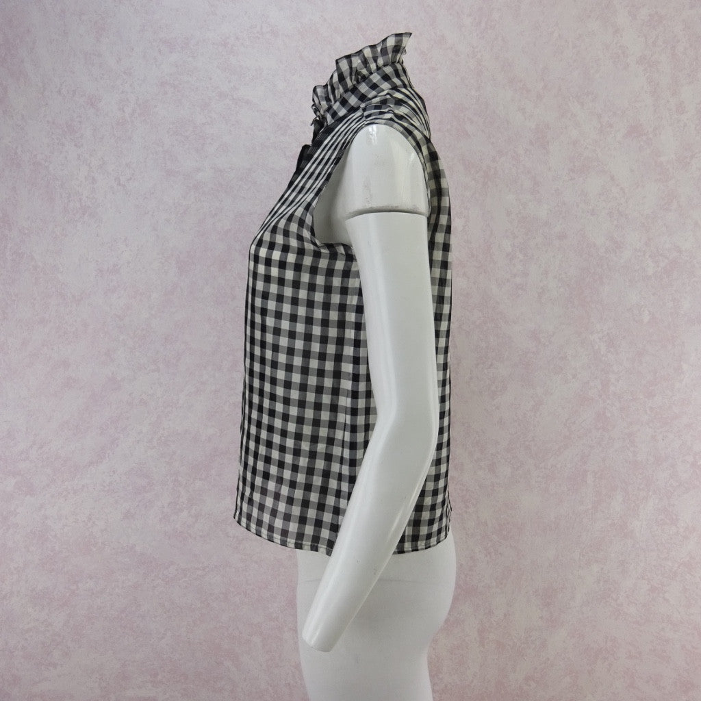 Vintage 70s Gingham Blouse w/Multi-Pleated Front bgf