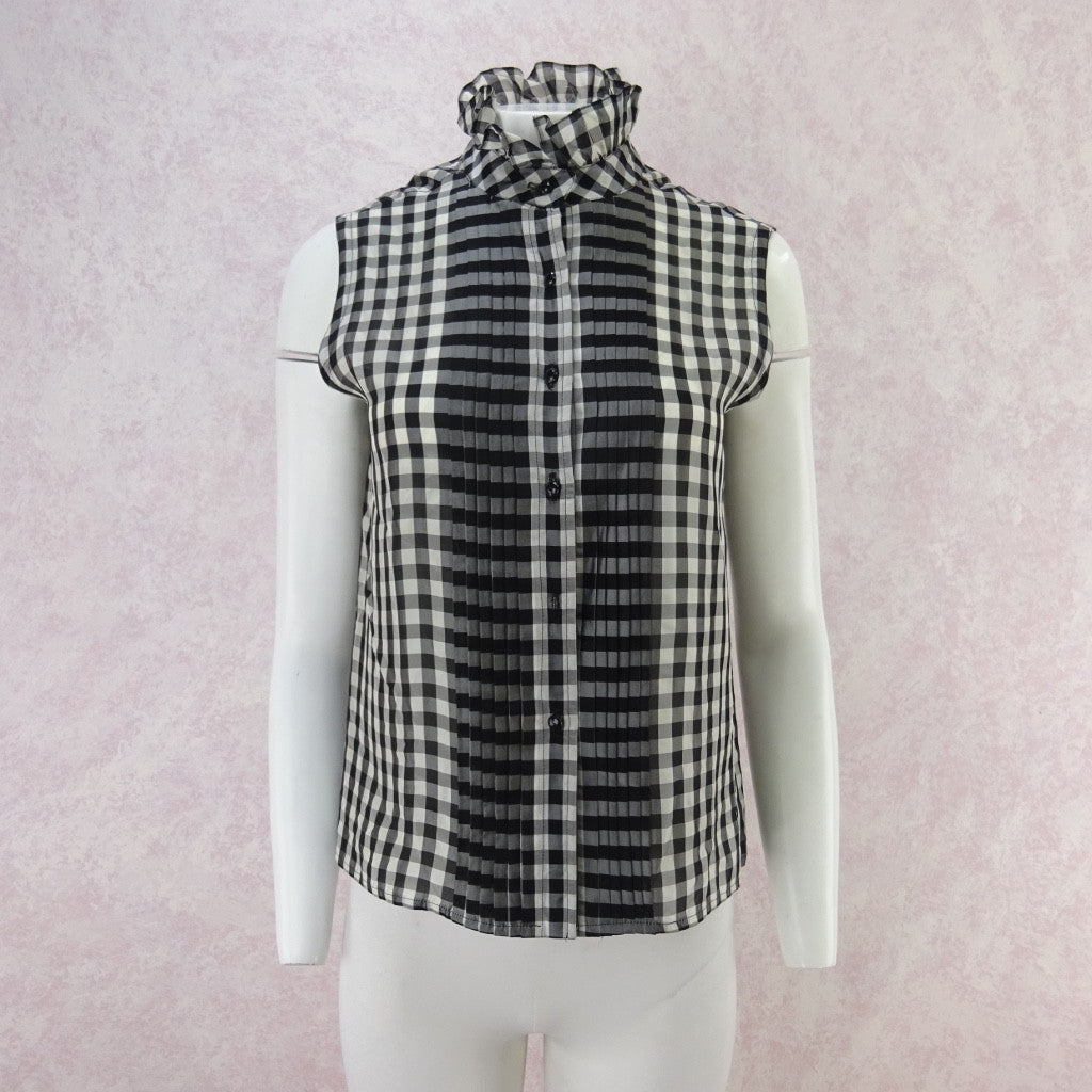 79111240764 Vintage 70s Gingham Blouse w/Multi-Pleated Front – Voguely Familiar
