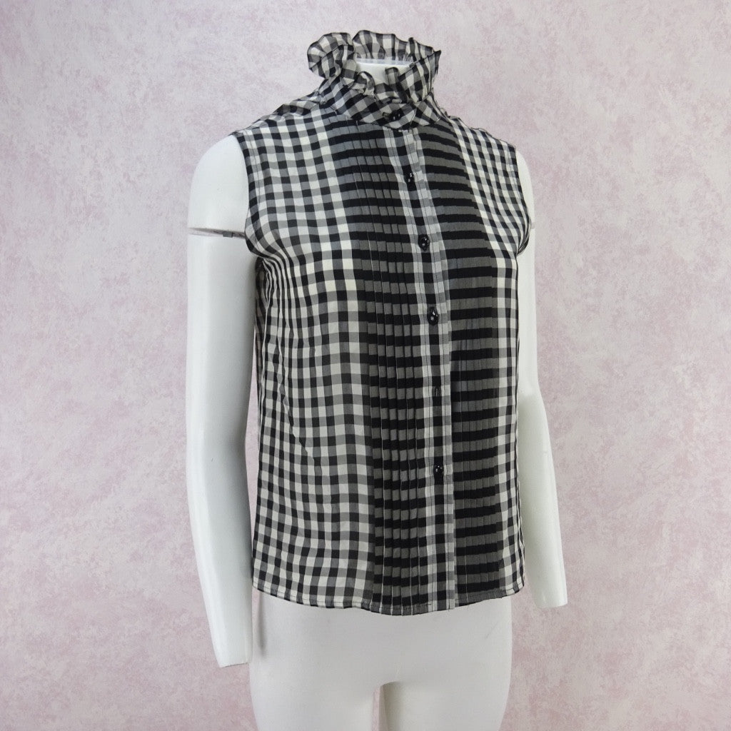 Vintage 70s Gingham Blouse w/Multi-Pleated Front qwe