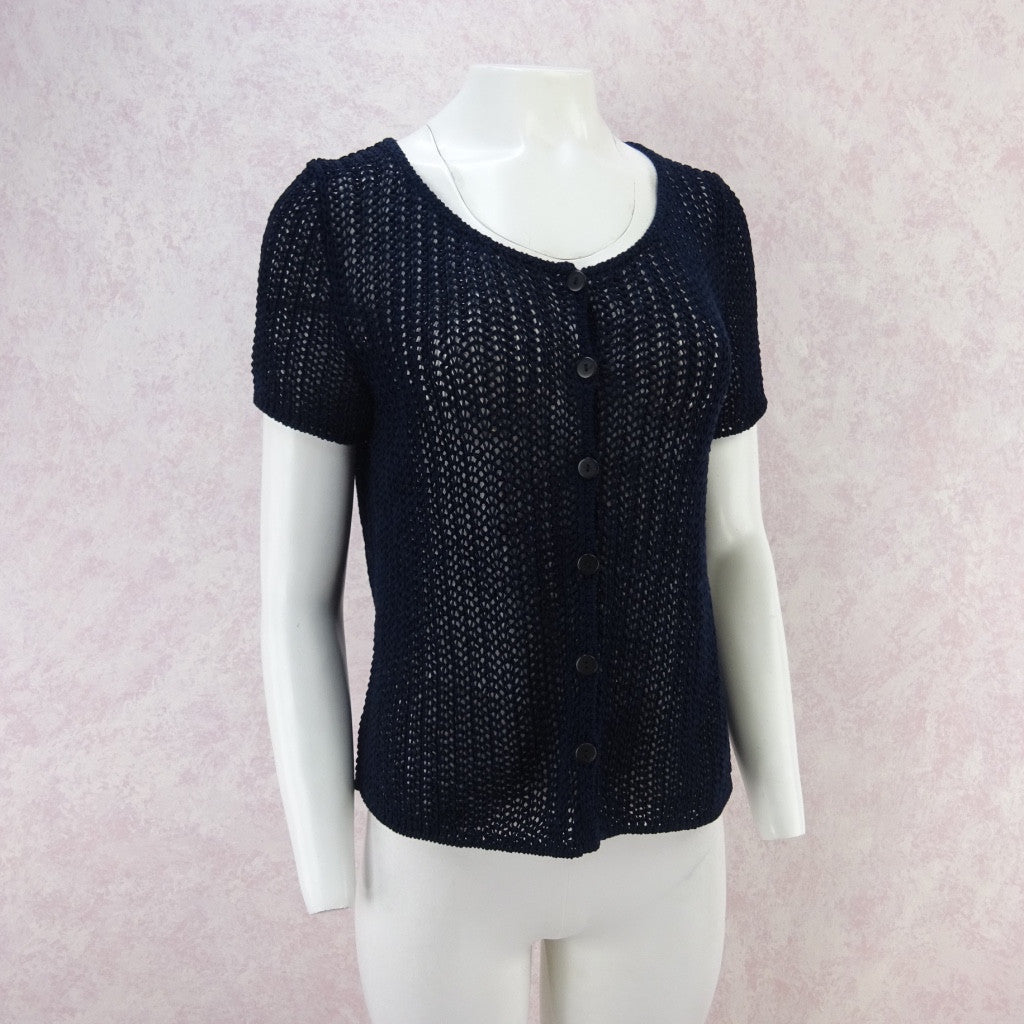 Vintage 90s KRIZIA Navy Open Weave Short Sleeved Cardigan, New Old