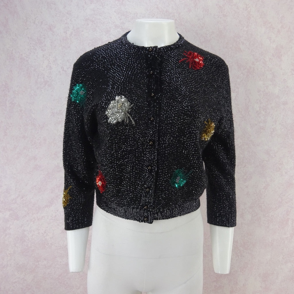 Vintage 50s Solid Sequin Sweater w/ Multi-Color Bursts of Flower