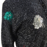 Vintage 50s Solid Sequin Sweater w/ Multi-Color Bursts of Flower f