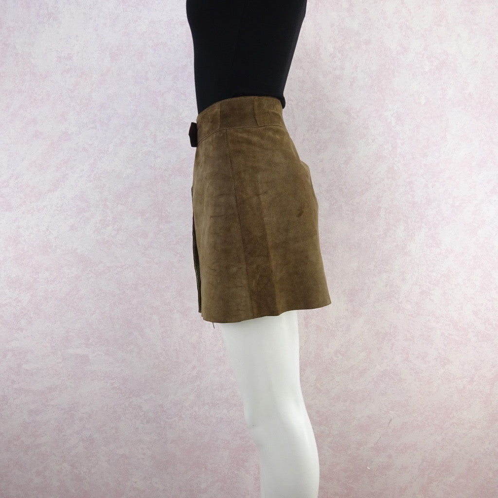 Vintage 70s Suede Snap Front Mini-Skirt w/Wide Chrome Buckle