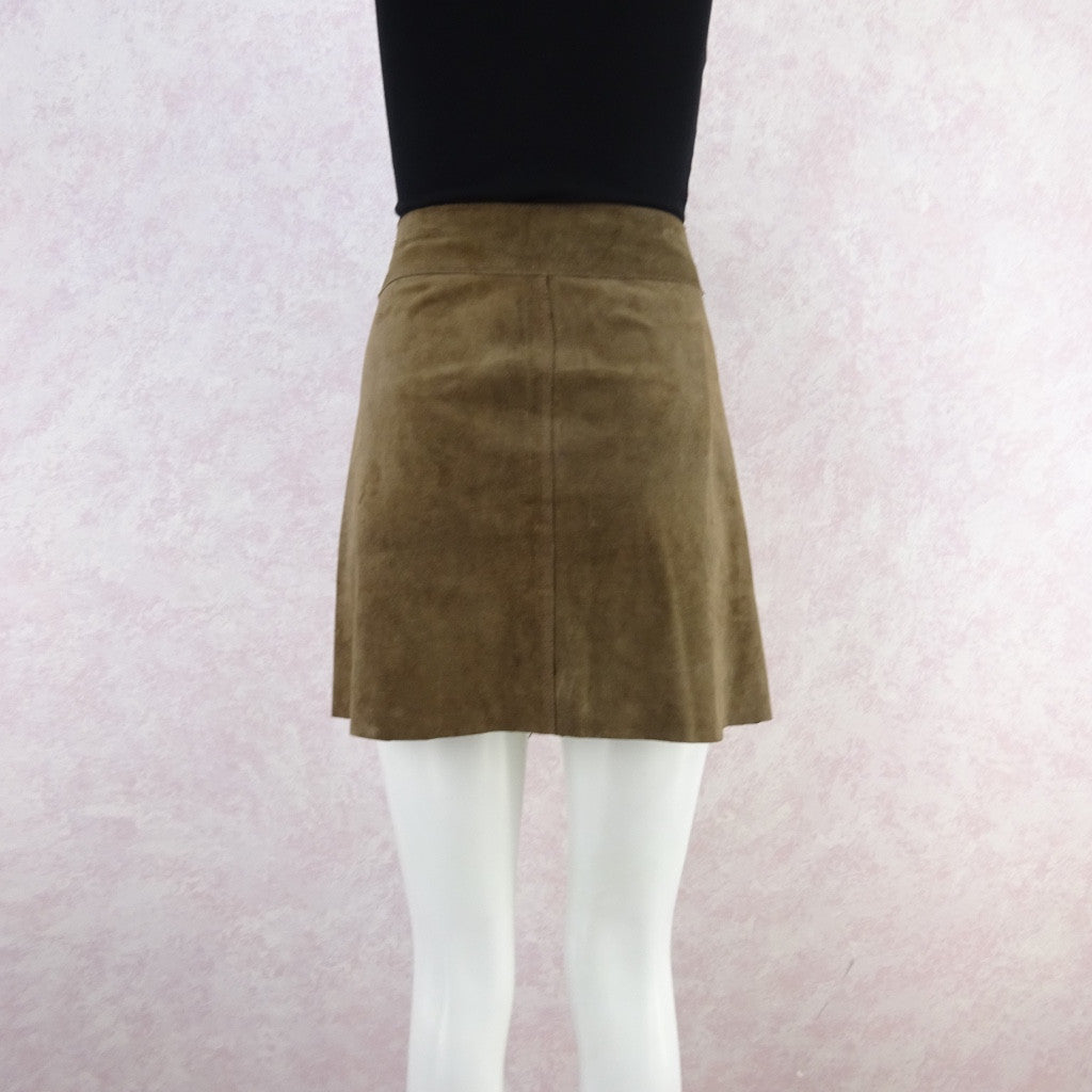 Vintage 70s Suede Snap Front Mini-Skirt w/Wide Chrome Buckle f