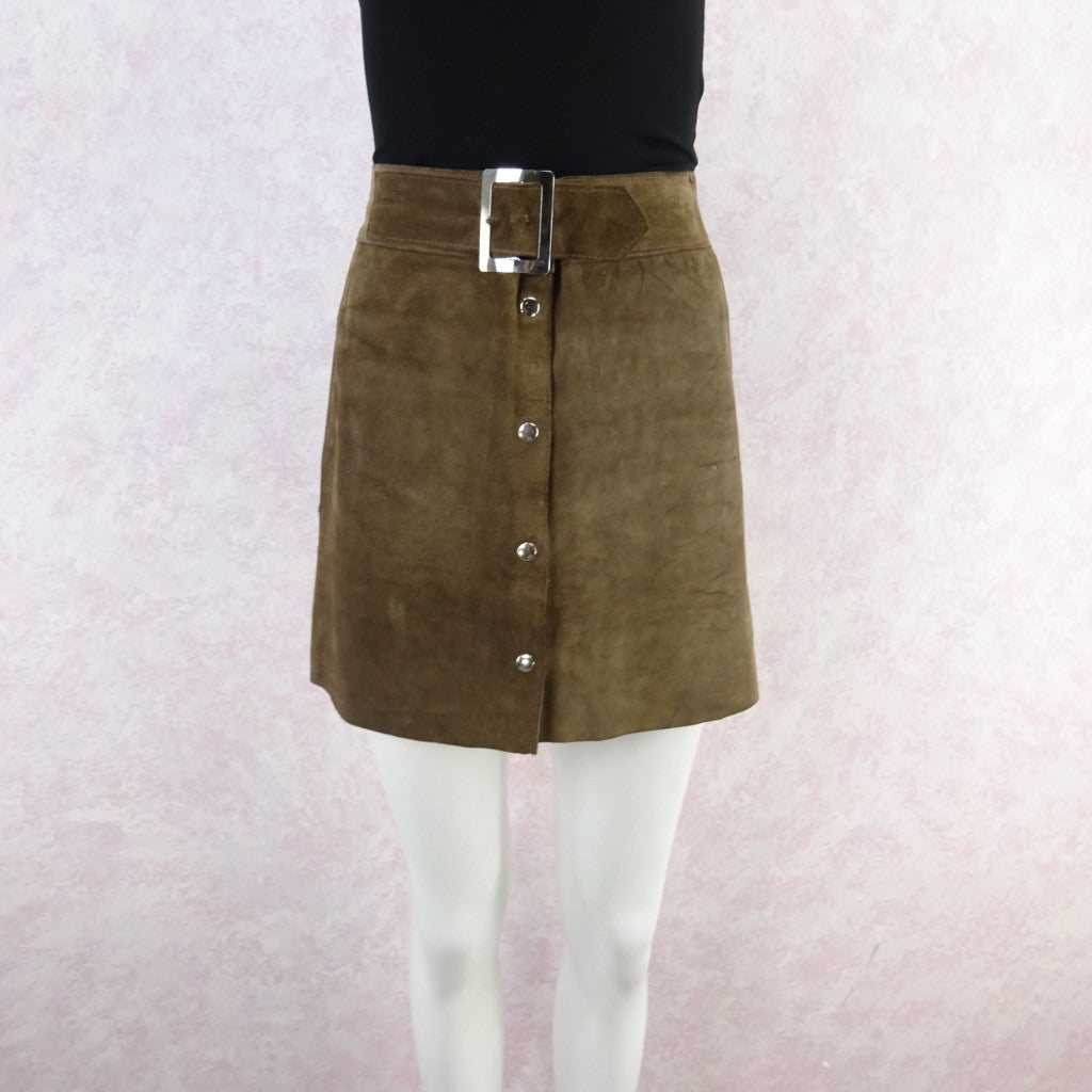 Vintage 70s Suede Snap Front Mini-Skirt w/Wide Chrome Buckle bgf