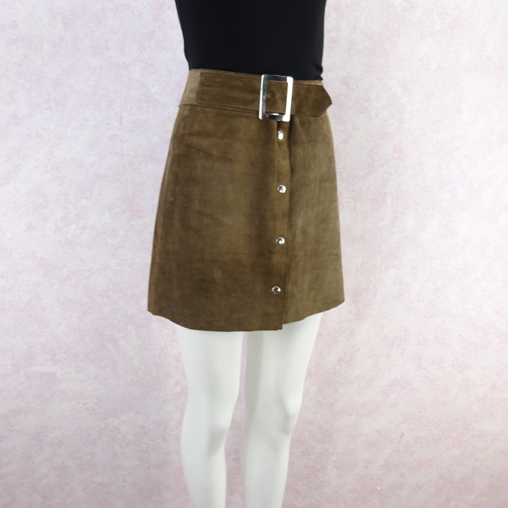 Vintage 70s Suede Snap Front Mini-Skirt w/Wide Chrome Buckle bg fdss