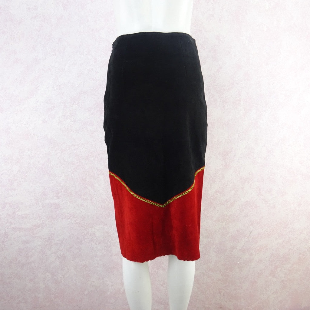 2000s Suede Bold Color Blocked Diamond Appliquéd Skirt