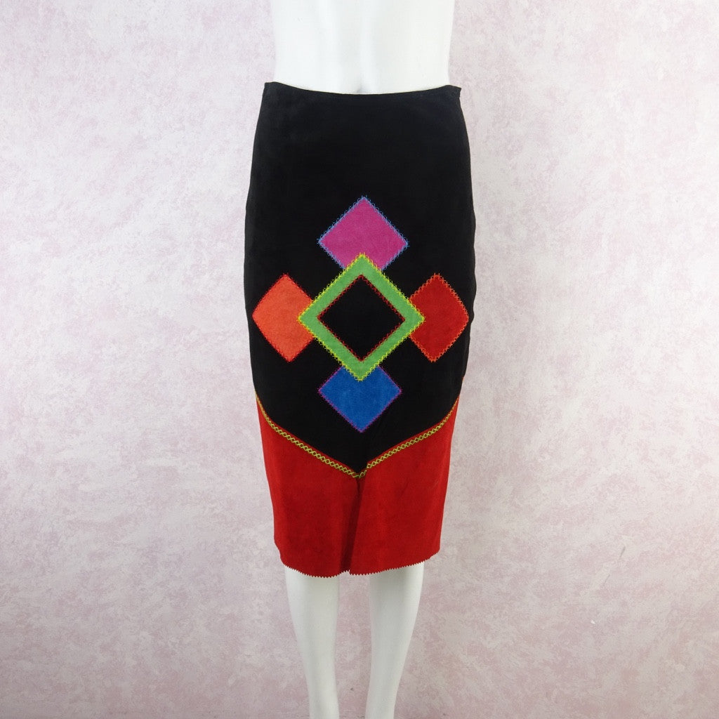2000s Suede Bold Color Blocked Diamond Appliquéd Skirt bg