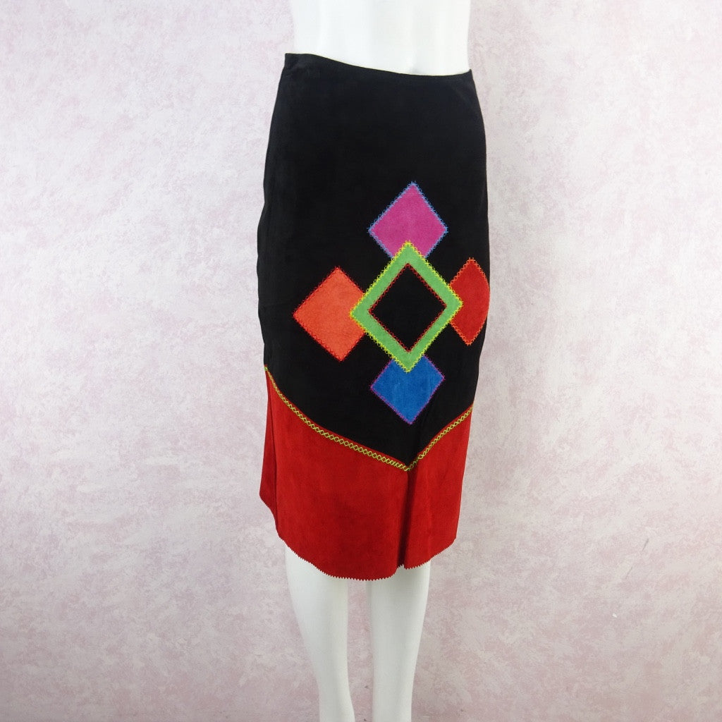 2000s Suede Bold Color Blocked Diamond Appliquéd Skirt bgfd