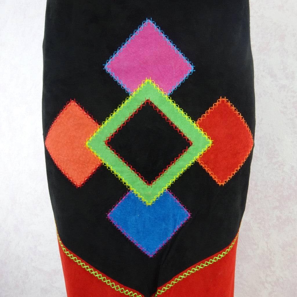2000s Suede Bold Color Blocked Diamond Appliquéd Skirt bgtr