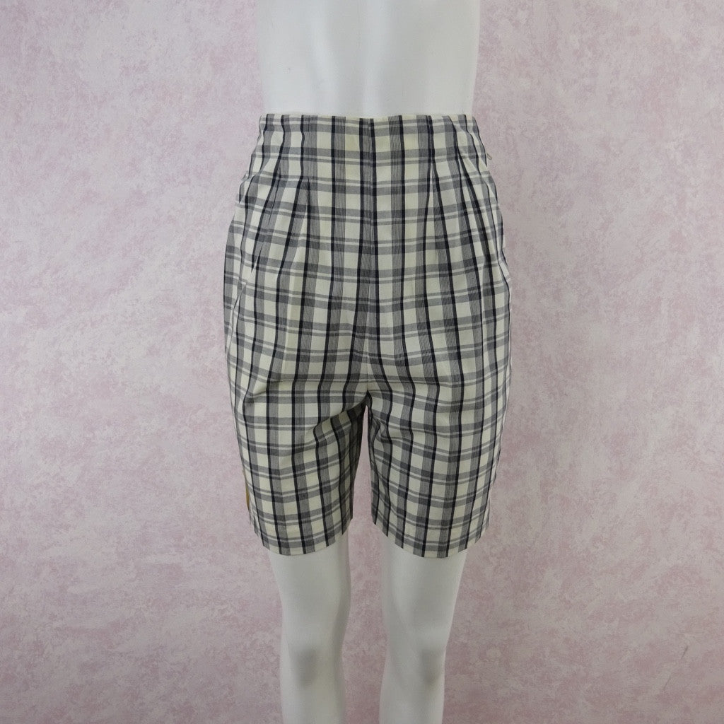 Vintage 50s KORET Cotton Plaid Shorts, New With Tags bgd