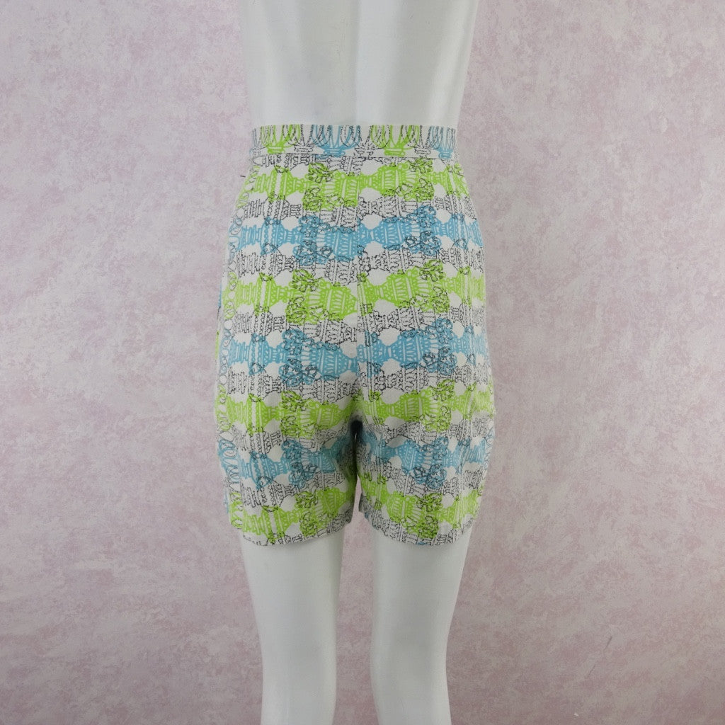 Vintage 50s Cotton Abstract Horizontal Print Shorts