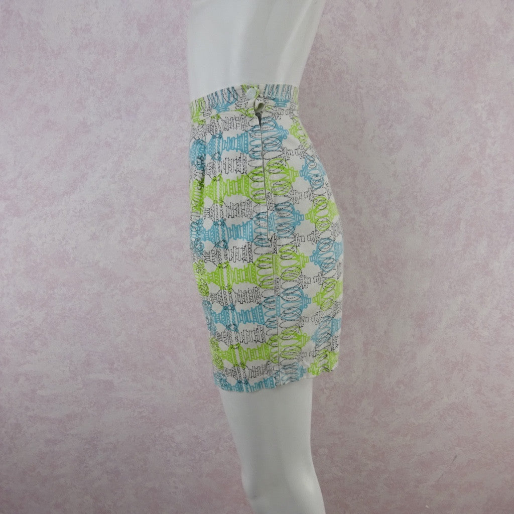 Vintage 50s Cotton Abstract Horizontal Print Shorts fdgsa