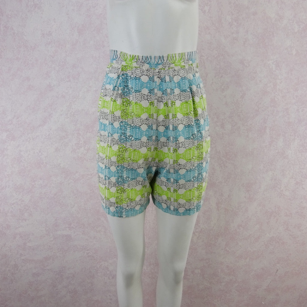 Vintage 50s Cotton Abstract Horizontal Print Shorts bfe