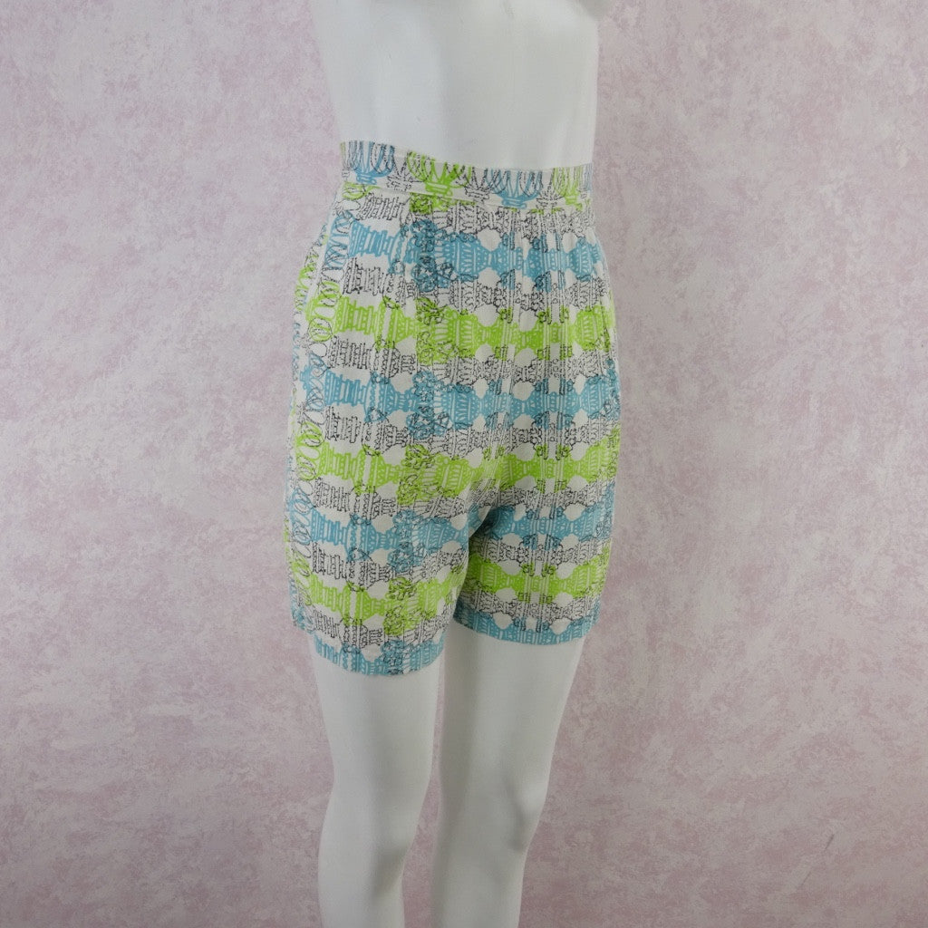 Vintage 50s Cotton Abstract Horizontal Print Shorts wer