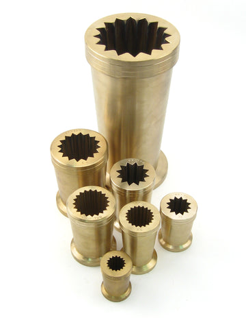Imported Italian 12 point Rigadin molds also known as optic molds, made of cast bronze, these are used for creating optic twists, and rib patterns.