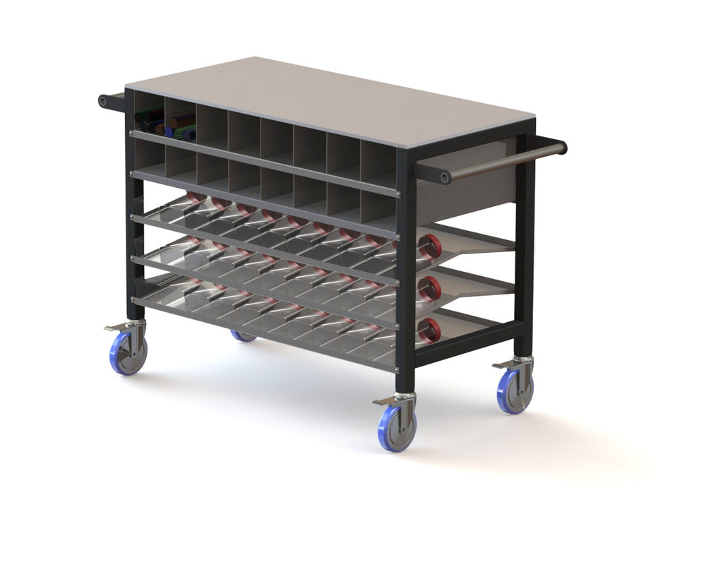 A cart for color frit and bar with a marver top, with the option of 3 or 4 shelves.