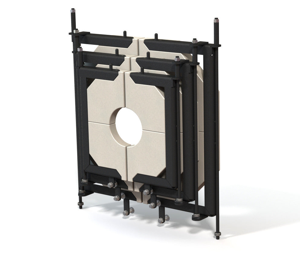 Large glory hole door system with replaceable door inserts.