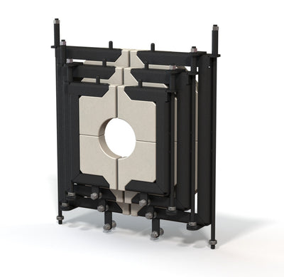 Medium, 3 door, glory hole door system with replaceable door inserts.