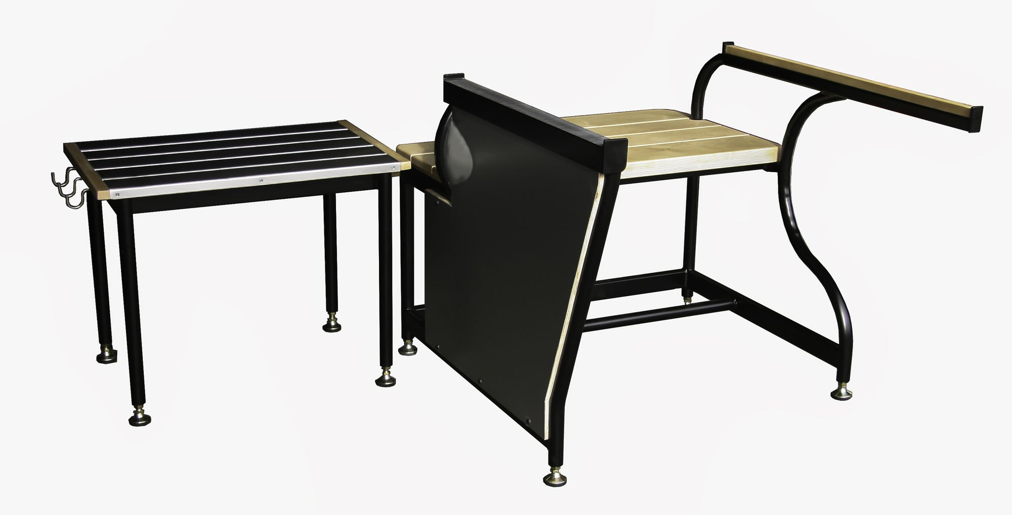 Traditional bench and separate side table for hot glass working, featuring black powder coated steel  construction, with maple accents.