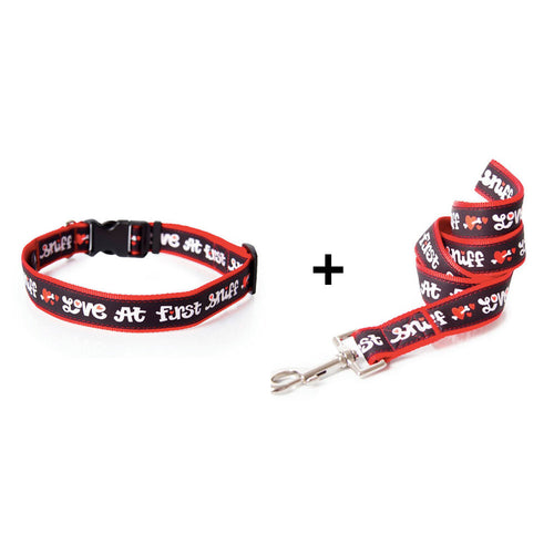 Love at First Sniff dog collar and leash combo