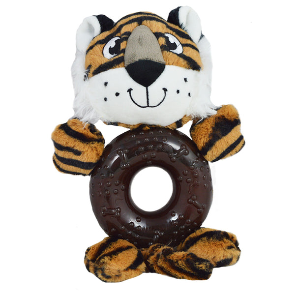 Tiger Plush dog toy with rubber