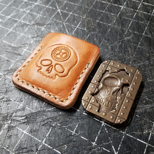 Tan Leather Skull Worry Stone Sleeve
