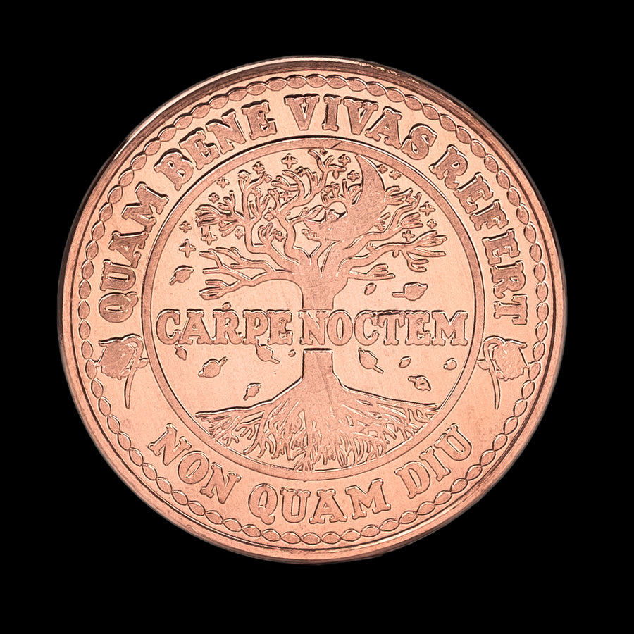 Carpe Noctem Coin - Raw Copper (back)