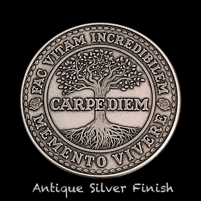 Carpe Diem Coin - Antique Silver (back)