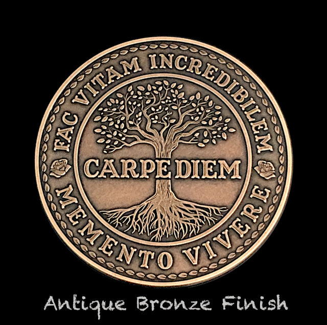 Carpe Diem Coin - Antique Bronze (back)