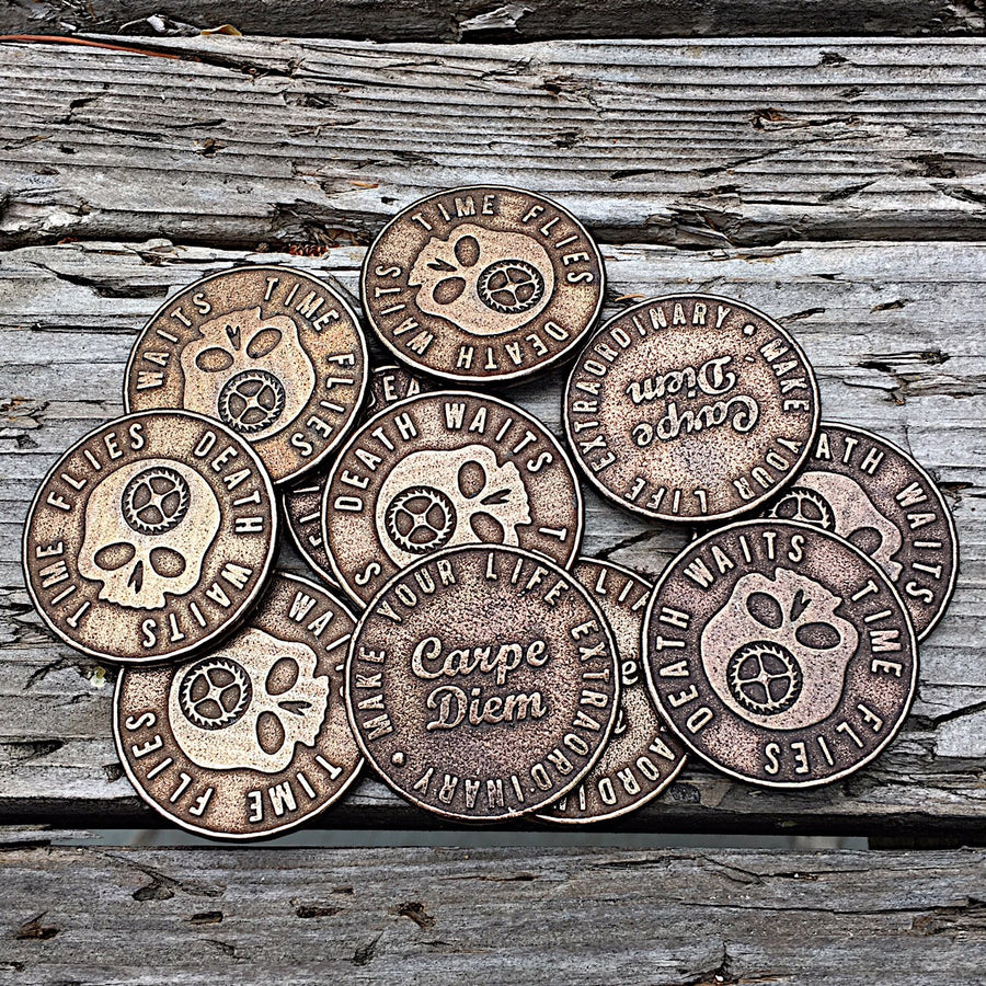 Original Carpe Diem Coins piled on wood