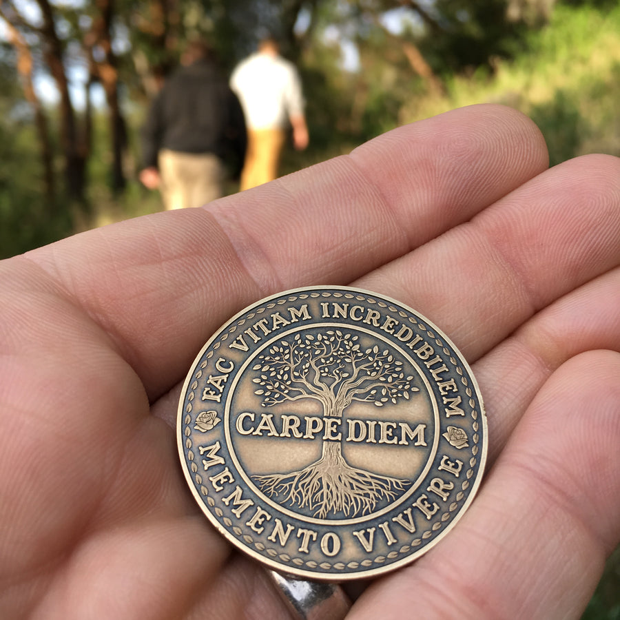 Carpe Diem Coin - Antique Bronze outdoors
