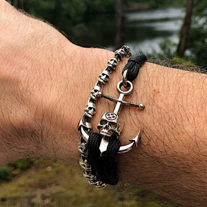 Tempus Fugit Anchor Skull solid silver on bracelet