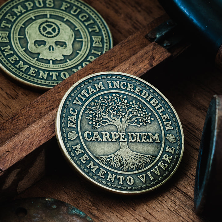 Carpe Diem Coin with tree of life and tempus fugit skill