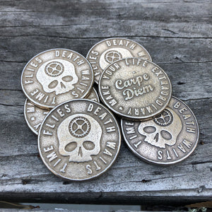 Original Carpe Diem Coins Bronzed Silver Steel Front and Back