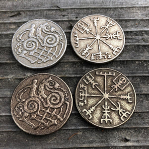 Viking Travel Coin, Vegvisir Coin, Odin Sleipnir Coin