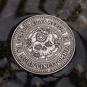 Carpe Noctem Coin - Antique Silver (front)