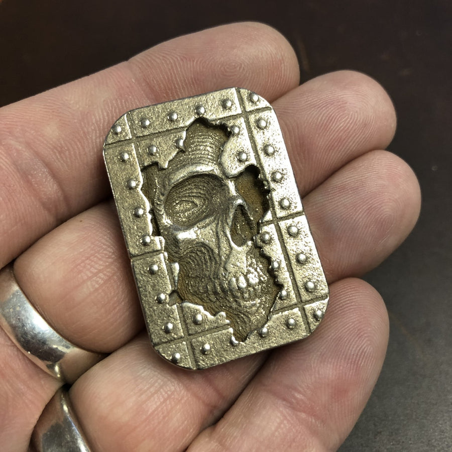 Memento Mori Worry Stone - Bronze-Silvered Steel