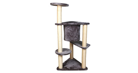 Three-Tier Deluxe Cat Tree Condo Furniture with Sisal Ropes and Multiple Posts - Gray