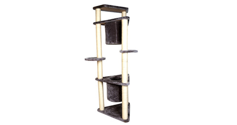 Four-Tier Deluxe Cat Tree Condo Furniture with Sisal Ropes and Multiple Posts - Gray