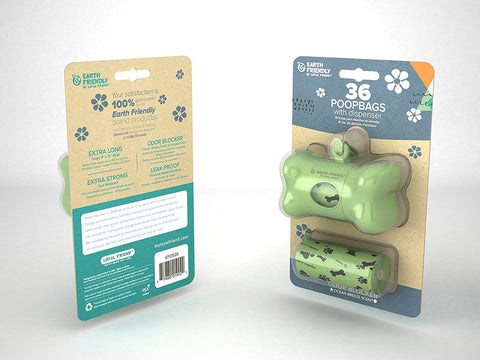 Earth Friendly Poop Bags with Dispenser - 36 Bags