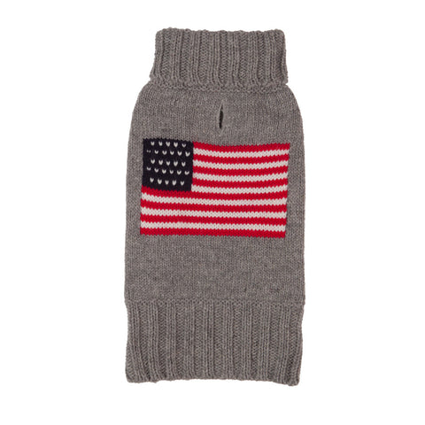 american flag on grey dog sweater