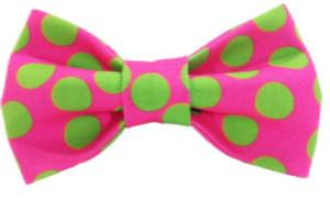 Doggie Bow Tie - Neon Green Polka Dots on Pink