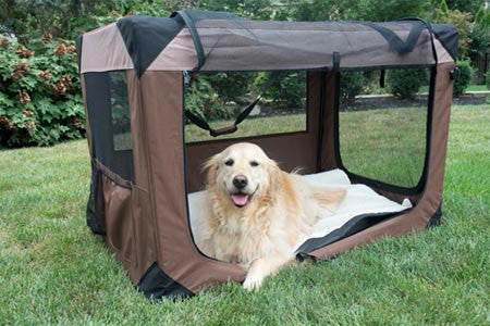 Multipurpose Pet Soft Crate with Fleece Mat - Coffee/Khaki