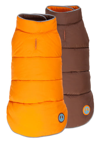 Puffer Dog Coat - Reversible Orange/Brown