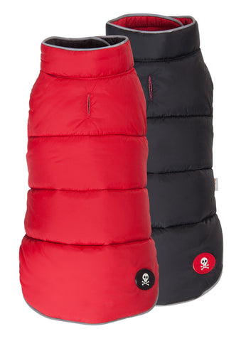 Puffer Dog Coat - Reversible Red/Black
