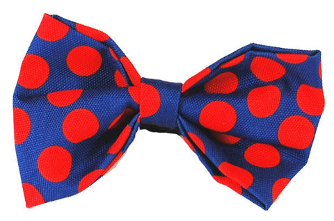 Doggie Bow Tie - Red Polka Dot on Blue