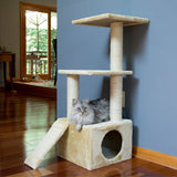 Three Level Cat Tree Condo with Sisal Ramp and multiple Sisal Posts - Beige